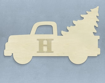 Unfinished Monogram Wooden Vintage Truck! Adorable for the Winter season!
