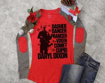 Women, For Women, Christmas Shirt, Daryl Dixon Women's Christmas Elbow Patch Shirt, christmas shirts for women, The Walking Dead Shirt
