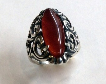 Sterling silver ring, Carnelian ring, oval gemstone ring, filigree ring, statement ring, oxidized silver ring - It's not a dream R2140