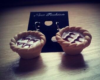 Small Bakewell Tart Dangle Earrings