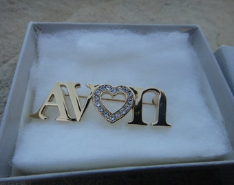 Vintage AVON Rhinestone Heart Pin Pendant with original box