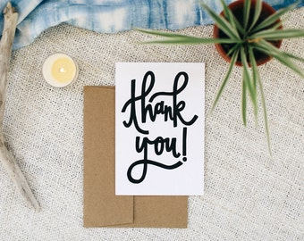 "Thank You 4""x6"" Greeting Card - Cursive"