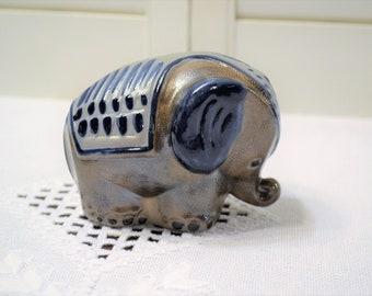 Vintage Pottery Elephant Figurine Handmade Blue Gray Salt Glaze Knick Knack Salzglasur Germany  PanchosPorch
