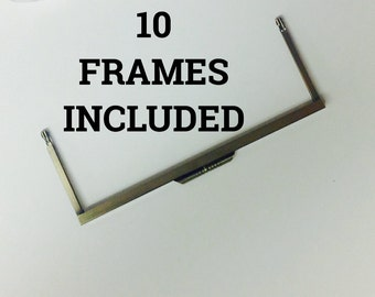 10 Open Channel Modern Purse Frames Color ANTIQUE GOLD 8""