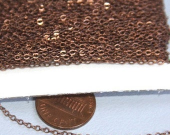 100ft spool of Antiqued Copper Tiny Flat Soldered Cable Chain 2mm, bulk copper chain, brass bulk chain