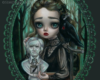 Poe's Raven Heart SIGNED print Simona Candini Edgar Allan Poe, Gothic, Victorian pop surreal lowbrow big eyes art