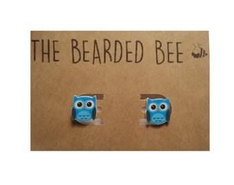 Handmade Blue Owl Stud Earrings