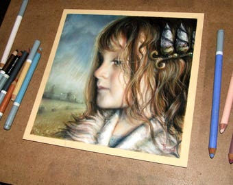 Reminiscent - original art by Tanya Bond - fantasy illustration pastels girl pop surrealism crown girl child portrait