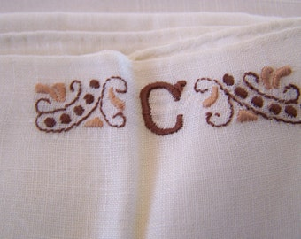 """Vintage 60's """"HAND LOOMED"""" Handkerchief In the Initial """"C"""" & an All White Hankerchief"""
