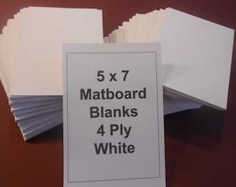 Matboard Blanks (100) 5 x 7 White Matboard Backs for Art and crafts