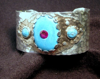 Aluminum and sterling silver hand forged cuff with turquoise stones