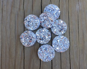 Silver 12mm faux druzy earring cabochons set of 8