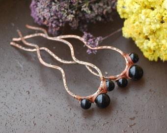 Black agate copper hairpins Metal hair comb Hair picks Rustic hair forks for bun Bun holder Long hair accessories Statement hair Copper pin