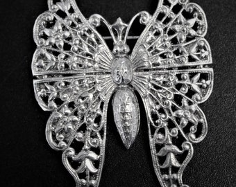 Beautiful Vintage Sterling Silver Butterfly  Brooch 11.5g