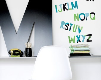 Alphabet Wall Decal Colorful Décor in Kids Room Fabric Wall Decal Letters Children Décor Modern Kids Room Wall Decor. Alphabet Wall Decal