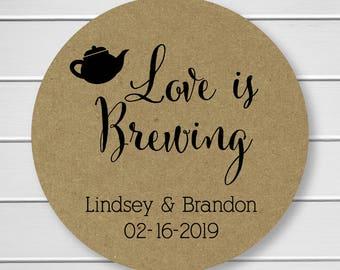 Kraft Wedding Stickers, Love is Brewing Tea or Coffee Wedding Stickers, Wedding Labels (#096-KR)
