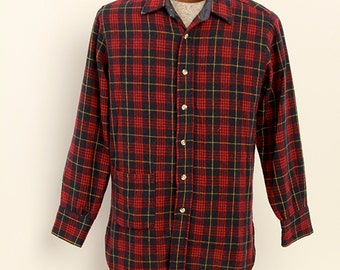 Mens Plaid Wool Camp Button Down Over Shirt Red Navy