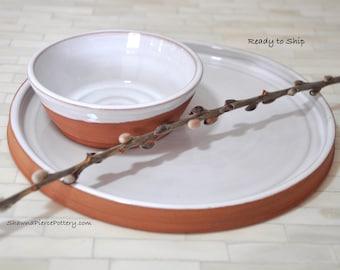 Dip Bowl and Platter, Pottery, Pottery Bowl, Serving Platter,  Wheel Thrown Pottery, Handmade Pottery, Appetizer Plate, Bowl, Platter, Tray