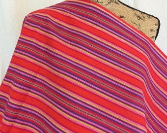 Guatemalan Fabric--Ethnic Woven Fabric--Ethnic Style Fabric--Handwoven Fabric--Orange Red Pink Yellow Blue Striped Fabric by the HALF YARD