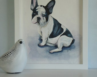 """Original watercolor painting 11 X 14 in. """" Frenchie"""". watercolor paper 300g. French Bulldog.  Pet portrait. Dog watercolor. Bulldog picture."""