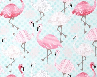"""FLAMINGOS Valance or Panel Cotton  Print 40' x 14"""" 18"""" 24' 32"""" Lined or Unlined"""