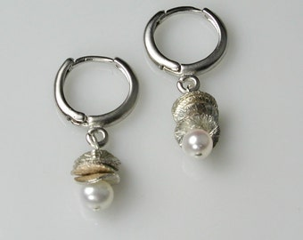 Silver Mini-Hoops with Wavy Disks and White Pearl Charms