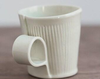 Handbuilt Porcelain Mug with Stamped Lines