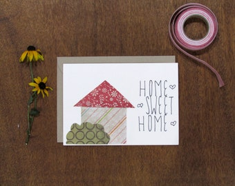 Home Sweet Home Card. Blank interior. envelope included.