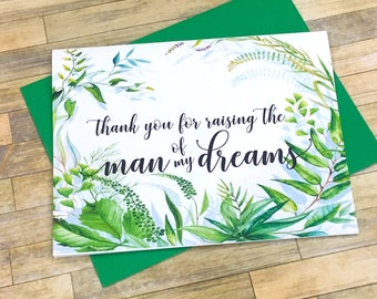 thank you for raising the man of my dreams - woman of my dreams - wedding day card for in laws - mother and father in law - SECRET GARDEN