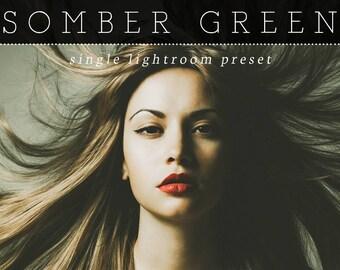 Somber Green Lightroom Preset - Single Preset - Adobe Lightroom Preset for 4, 5, 6 and CC - Wedding, Portrait Lightroom Preset