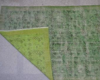 "Green / Overdyed Vintage Turkish Floral Carpet / 6'11"" x 10'2"""
