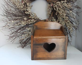 Vintage Wooden Recipe Box, Carved wood Recipe Box, Carved wood 1970s recipe box, heart recipe box, vintage wood recipe box with heart