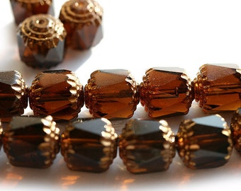 10mm Cathedral Dark Smokey Topaz czech glass beads with golden ends, brown large ball beads - 10pc - 2998
