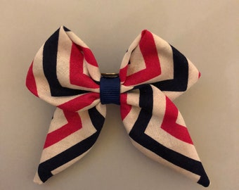 Pink white and blue hair bow