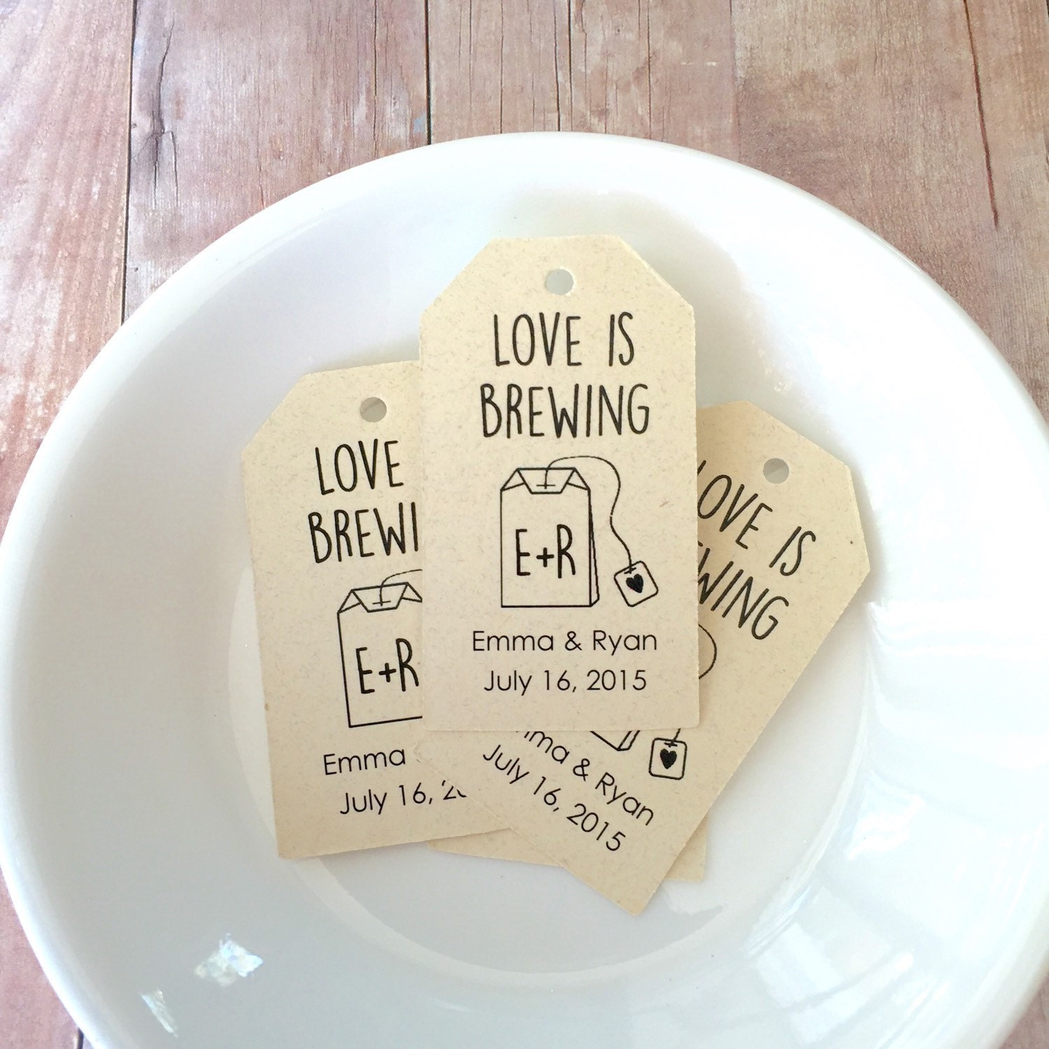 Personalized Love is Brewing Gift Tags, Custom Tag, Wedding Favor ...