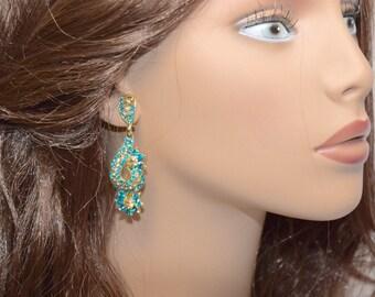 New Design gold with Blue & Brown Rhinestone Earrings, Drop Earrings, Dangle Earring, Evening Dress Earrings, Special Occasion Earrings