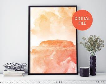 Uluru, Ayers Rock, Australia Watercolour Print Wall Art | Print At Home | Digital Download File