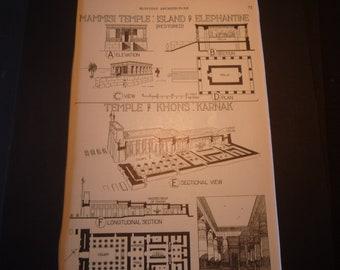 Egyptian Architecture Temple Plans - 1924 print - Great for Framing - gift for architect - Ammon Karnak