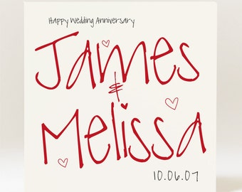 Personalised Handmade Anniversary Card with couples' names