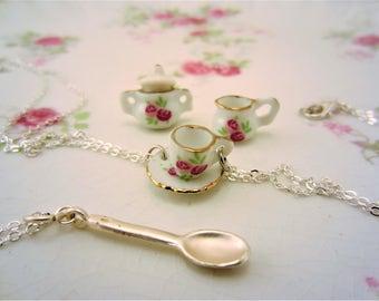 3 best friend necklaces or 2 friendship necklaces. Tea cups, tea pot, cup, saucer, spoon charm. Spot of tea best friend gift. Glass charms.