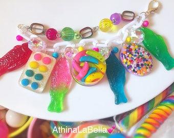 Kawaii Candy Charm Bracelet, Gummy Fish Bracelet, Candy Jewelry, Candy Bracelet, Kitsch Jewelry, Resin Jewelry