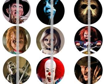 Slasher Movie Pins, Slasher Movie Magnets, Slasher Movie Flatbacks, 80's Horror Flicks, Horror Magnets 12 ct. Set A
