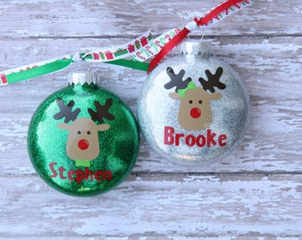 Childrens Reindeer Ornament - Personalized