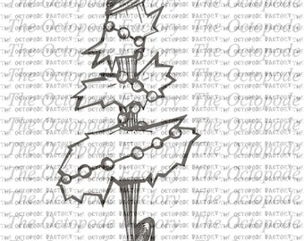 INSTANT DOWNLOAD Whimsical Christmas Tree Digital Stamp Image