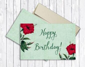 Floral Birthday Card Printable, Birthday Card, Women Birthday Card, Digital File - Folded Birthday Card