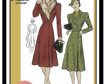 1940's Smart Coat Wartime Sewing Pattern - PDF  Instant Download