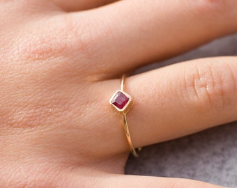 Tiny ruby ring, 14k gold ring, red gemstone ring, july birthstone, stacking ring, ruby engagement ring, birthstone ring, solitaire ring