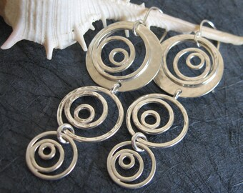 Sterling silver long Earrings , 925 Spiral dangling earrings , Handmade by Adi Yesod
