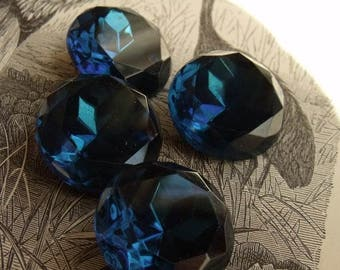 Montana Sapphire Vintage Glass Faceted Doublets- 20mm rounds - four (4)