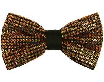 Men's Sequins Gold Pre-Tied Bowtie, for Formal Occasions